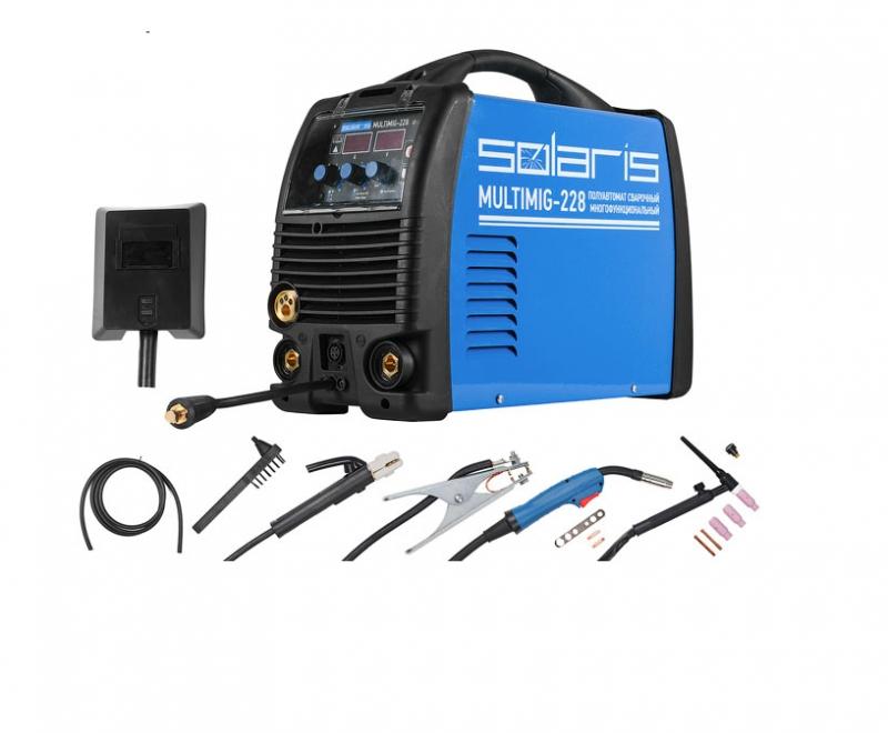 Полуавтомат сварочный Solaris MULTIMIG-228 MIG-MMA-TIG c TIG горелками